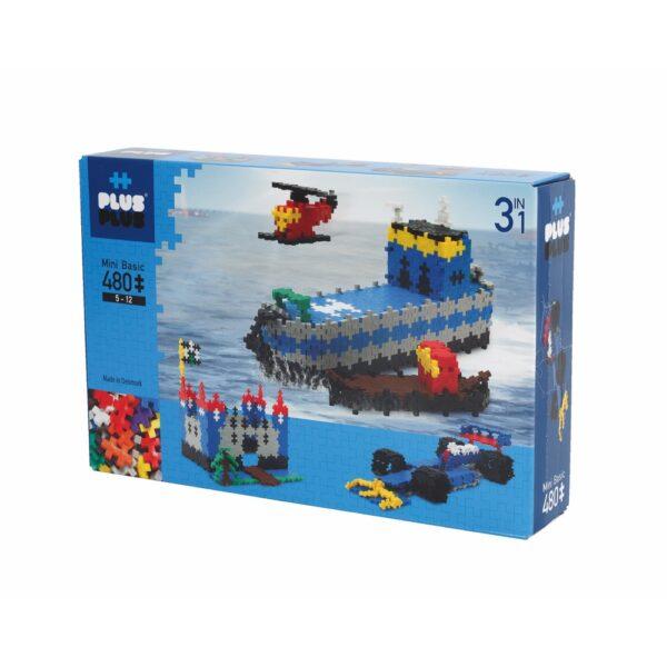 PLUSPLUS3en1- bateau, voiture de course, chateau